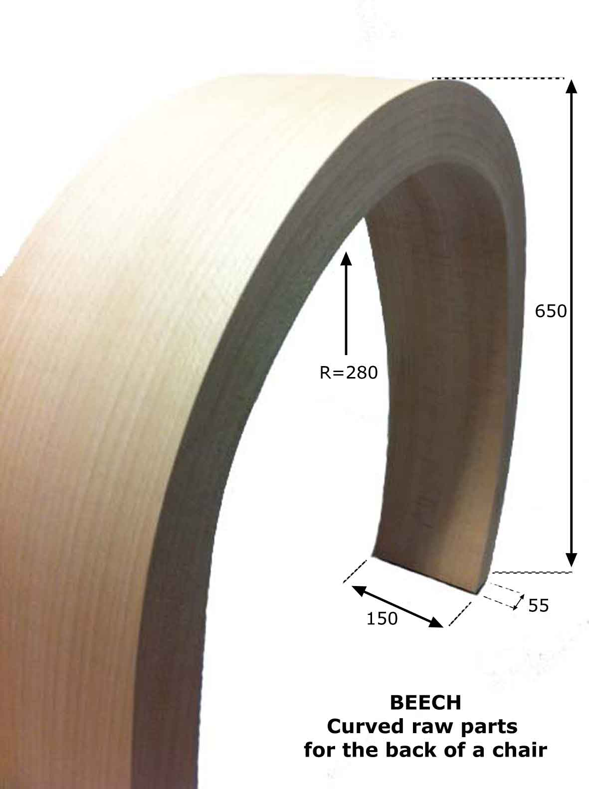 curved part in solid wood