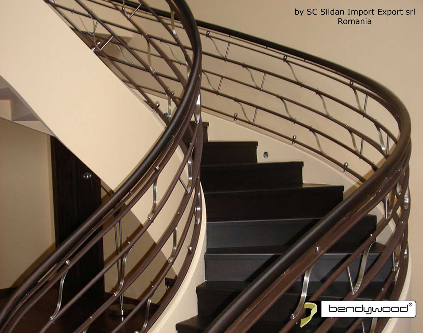 Bending wood Bendywood® - curved stair railing in solid wood